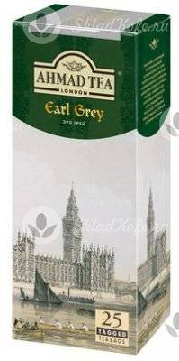 Ahmad Tea Earl Grey, черный чай с бергамотом в конвертах 25 пакетиков